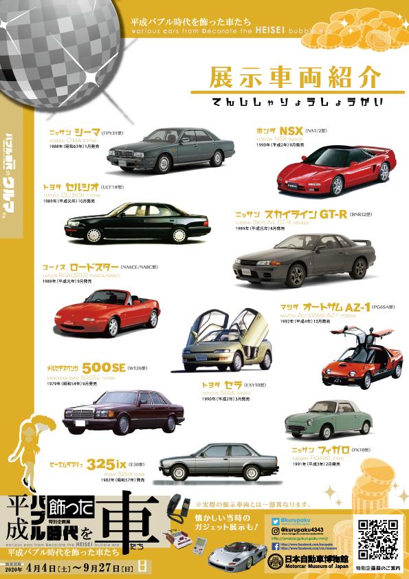 展示車両紹介/平成バブル時代を飾った車たち展